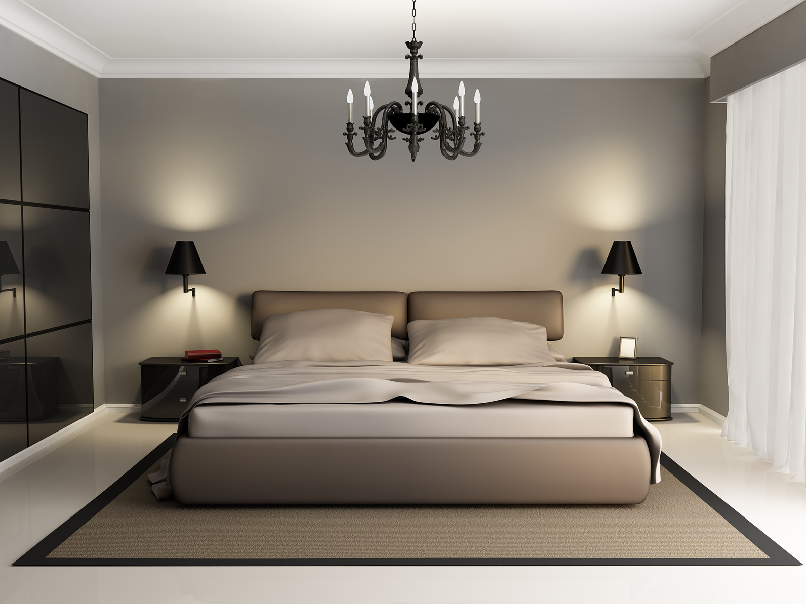 Modern luxury elegant bedroom interior, chandelier front